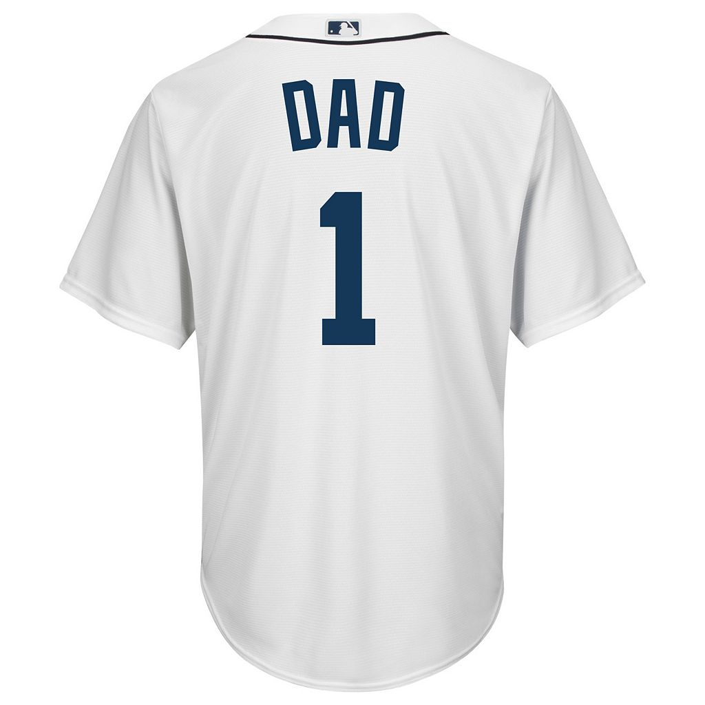 Men's Majestic Detroit Tigers #1 Dad Replica Jersey