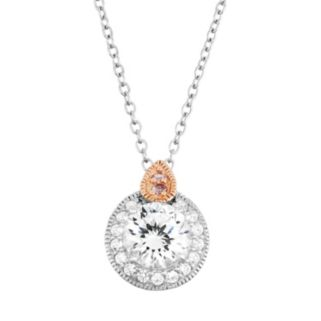 100 Facets of Love Sterling Silver Lab-Created White Sapphire Halo Pendant