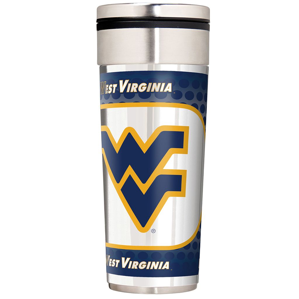 West Virginia Mountaineers 22-Ounce Stainless Steel Metallic Travel Tumbler