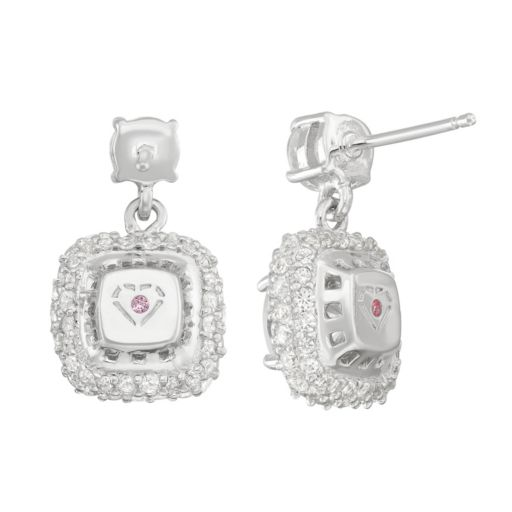 100 Facets of Love Sterling Silver Lab-Created White Sapphire Square Halo Drop Earrings