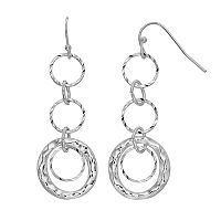 Hammered Triple Hoop Nickel Free Drop Earrings