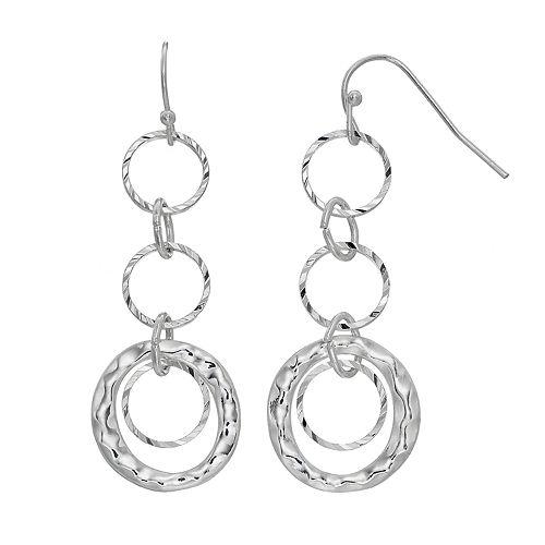 Hammered Triple Hoop Nickel Free Drop Earrings