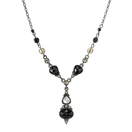 1928 Faceted Simulated Crystal Y Necklace