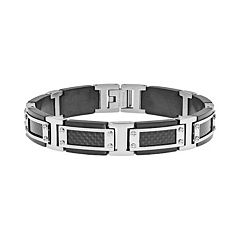 LYNX Stainless Steel Two Tone & Carbon Fiber Bracelet - Men