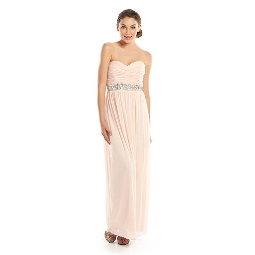 2ca438512b8 Juniors  Trixxi Strapless Ruched Maxi Dress