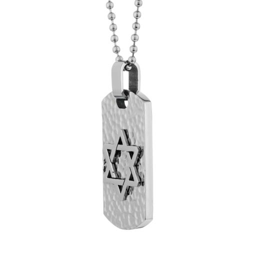 LYNX Stainless Steel Hammered Star of David Dog Tag Necklace