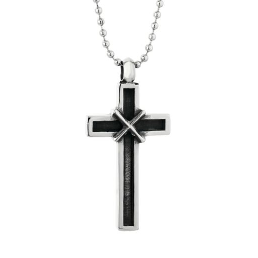 LYNX Stainless Steel Antiqued Cross Pendant Necklace