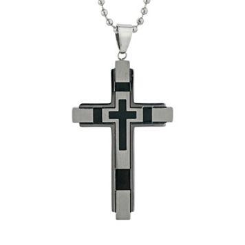 LYNX Stainless Steel Resin Cross Pendant Necklace - Men