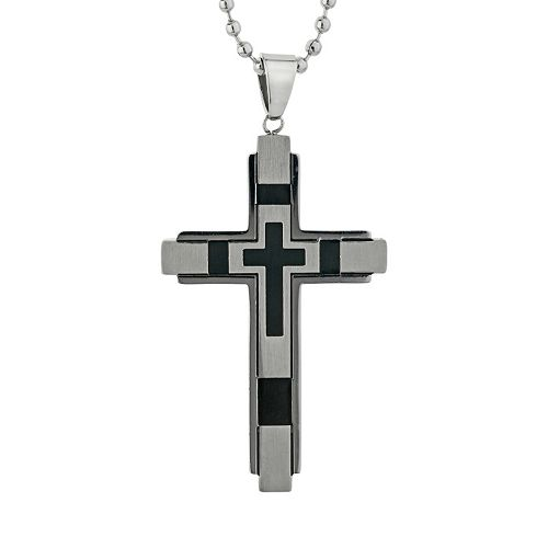 LYNX Stainless Steel Resin Cross Pendant Necklace - Men