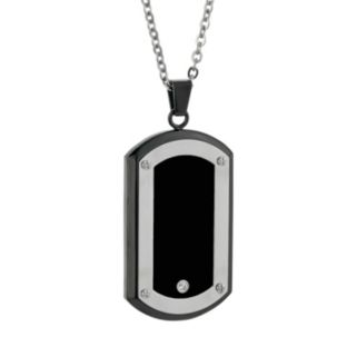 LYNX Cubic Zirconia Stainless Steel Two Tone Dog Tag Necklace - Men