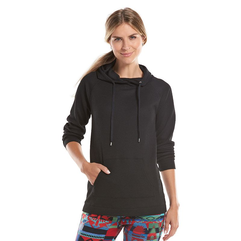 Chaps Waffle-Knit Thermal Hoodie - Women's