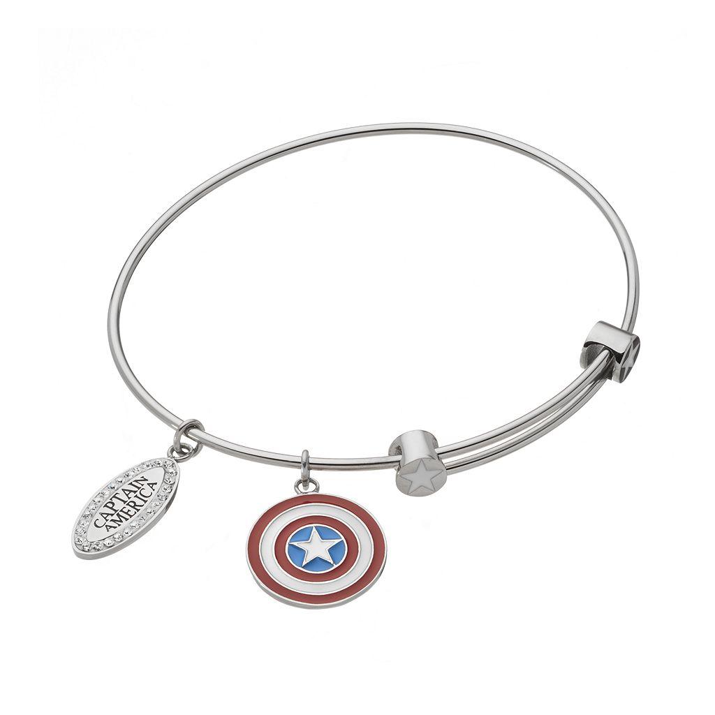 Captain America Crystal Stainless Steel Charm Bangle Bracelet