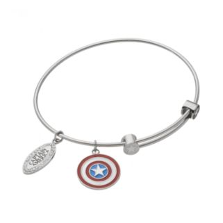 Captain America Crystal Stainless Steel Charm Bangle Bracelet