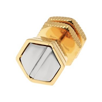LYNX Yellow-Ion Plated Stainless Steel Two Tone Nailhead Stud - Single Earring