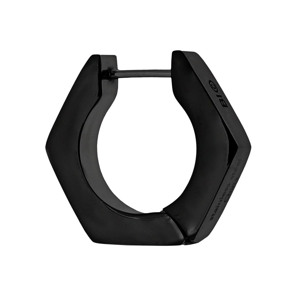 LYNX Black Ion-Plated Stainless Steel Hoop - Single Earring