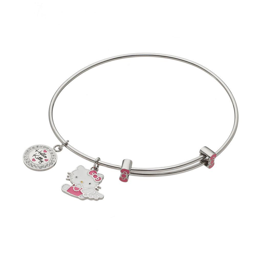 Hello Kitty® Crystal Stainless Steel Charm Bangle Bracelet