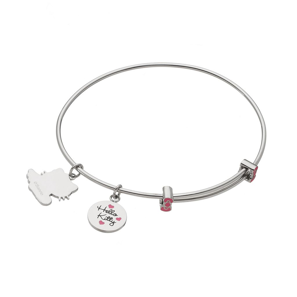 Hello Kitty® Crystal Stainless Steel Charm Bangle Bracelet