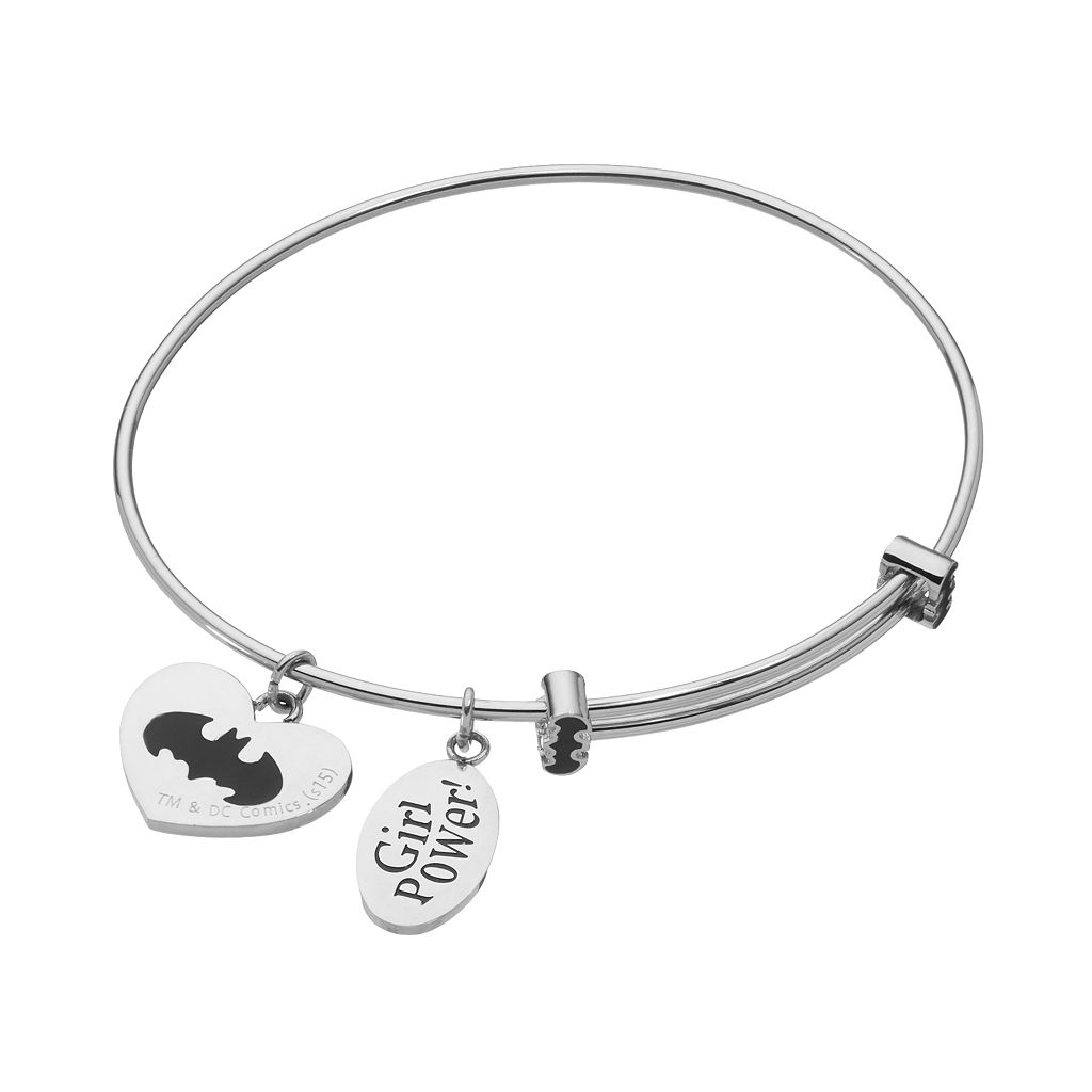 Batgirl Crystal Stainless Steel Charm Bangle Bracelet