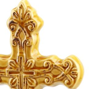Stonebriar Collection Distressed Cross Pedestal Decor