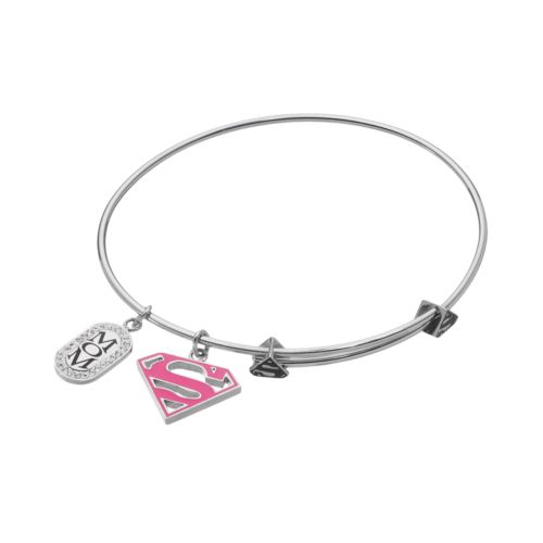 "DC Comics Superman Crystal Stainless Steel ""Mom"" Charm Bangle Bracelet"