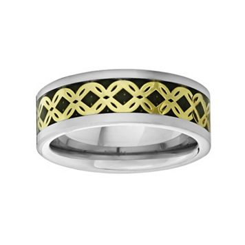 LYNX Titanium Two Tone Abstract Floral Band - Men