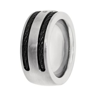 LYNX Cubic Zirconia Titanium Two Tone Cable Band Striped - Men
