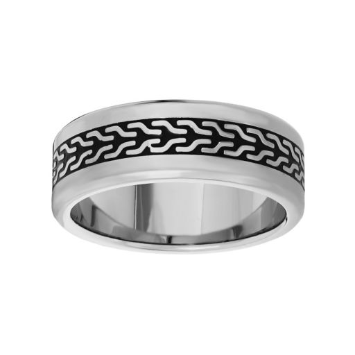 LYNX Stainless Steel Two Tone Abstract Band - Men