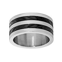 LYNX Stainless Steel Two Tone Striped Band - Men