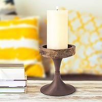 Stonebriar Collection Small Rustic Pedestal Candle Holder