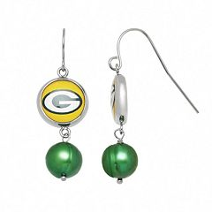 Green Bay Packers Dyed Freshwater Cultured Pearl Stainless Steel Team Logo Drop Earrings