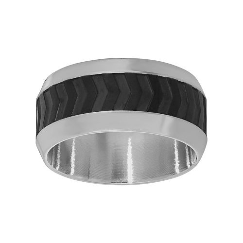 LYNX Stainless Steel Two Tone Ribbed Band - Men