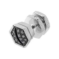 LYNX Black Diamond Accent Stainless Steel Screwhead Stud - Single Earring