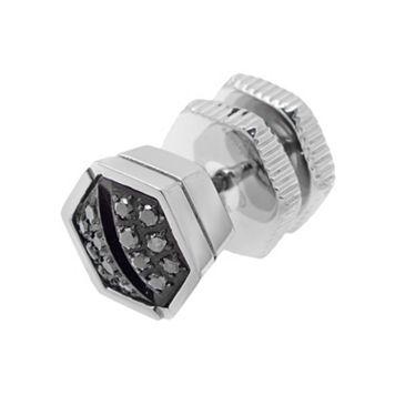 LYNX Black Diamond Accent Stainless Steel Screwhead Stud - Single Earring