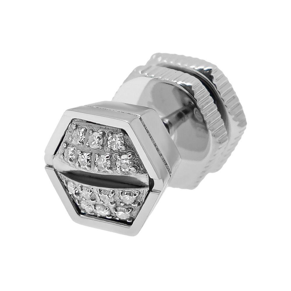 86e3048ef LYNX Diamond Accent Stainless Steel Screwhead Stud - Single Earring