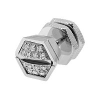 LYNX Diamond Accent Stainless Steel Screwhead Stud - Single Earring