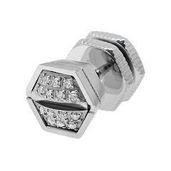 LYNX Diamond Accent Stainless Steel Screwhead Stud - Single Earring