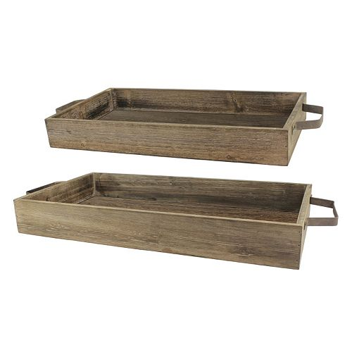 Stonebriar Collection 2-piece Rustic Wood Tray Set