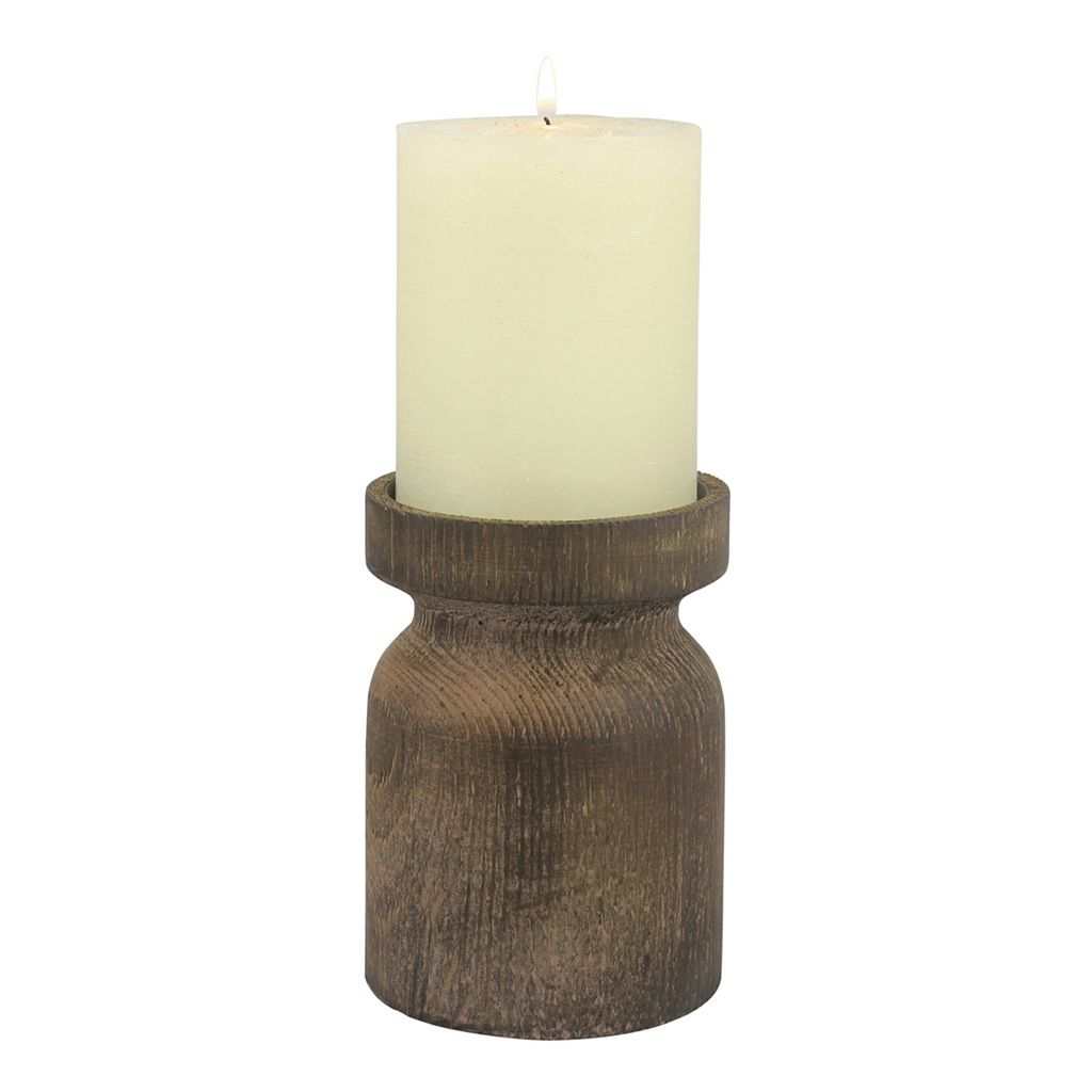 Stonebriar Collection Small Wood Pillar Candle Holder