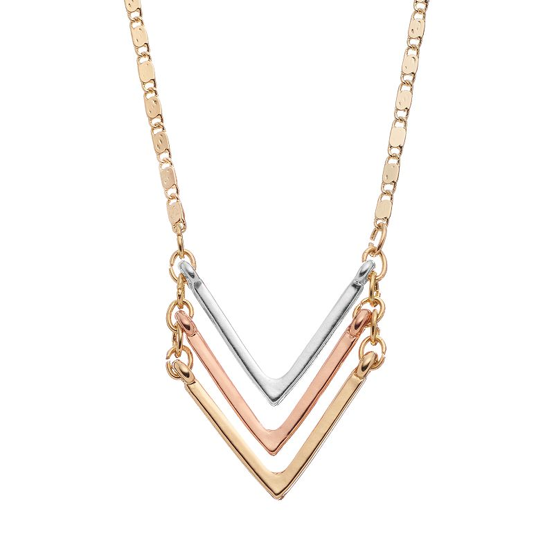 Nexus 20 Triple Bar Pendant: Chevron Gold Necklace
