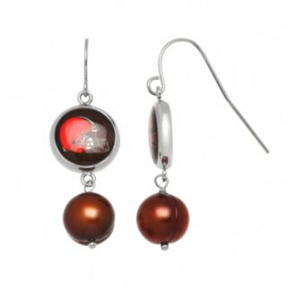 Cleveland Browns Dyed Freshwater Cultured Pearl Stainless Steel Team Logo Drop Earrings