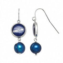 Seattle Seahawks Dyed Freshwater Cultured Pearl Stainless Steel Team Logo Drop Earrings