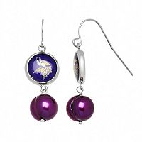 Minnesota Vikings Dyed Freshwater Cultured Pearl Stainless Steel Team Logo Drop Earrings