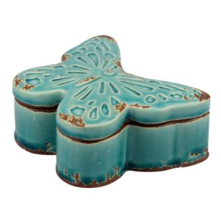 Stonebriar Collection Butterfly Ceramic Box