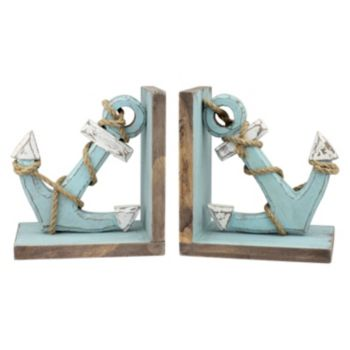 Stonebriar Collection 2-piece Worn Wood Anchor Bookend Set
