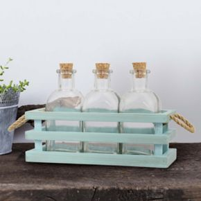 Stonebriar Collection 3-piece Decorative Bottles and Wood Tray Set