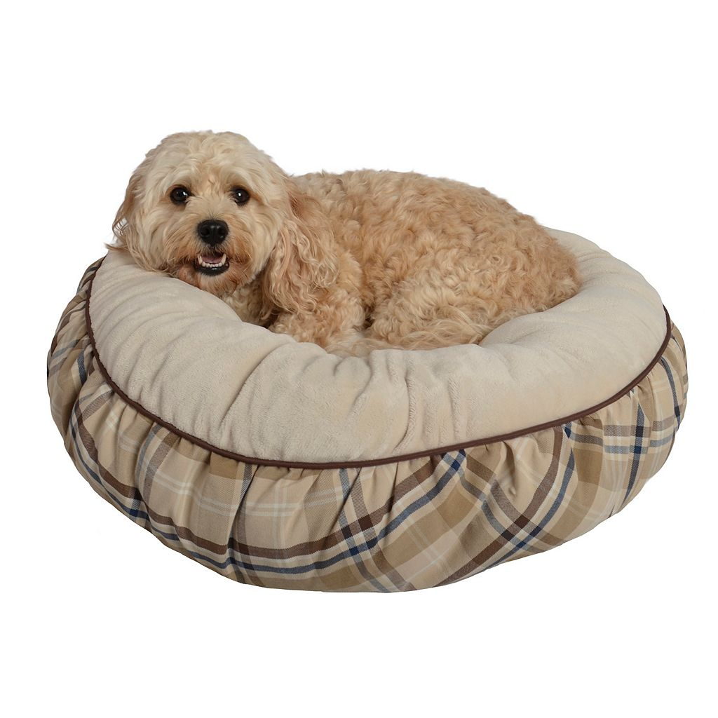 Pet Spaces 24-Inch Plaid Flannel Round Pet Bed