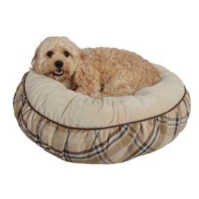 Pet Spaces 24-Inch Plaid Flannel Round Pet Bed
