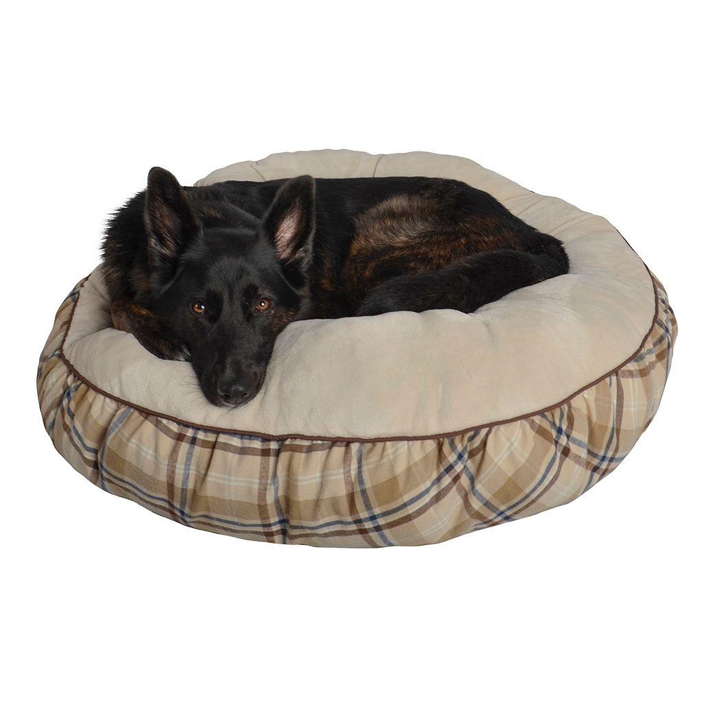 Pet Spaces 35-Inch Plaid Flannel Round Pet Bed