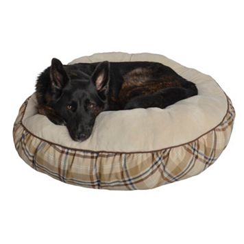 Pet Spaces 35-Inch Plaid Flannel Round Pet Bed
