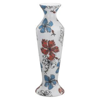 5'' x 16'' Floral Ceramic Candleholder